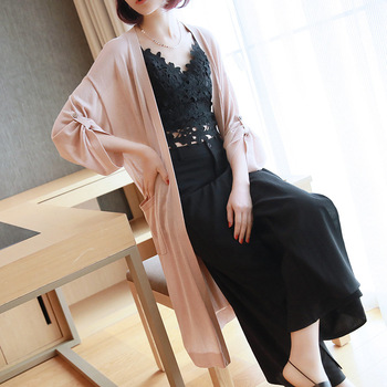 2019 spring and summer new women's jacket loose thin section air conditioning shirt ice silk knit cardigan