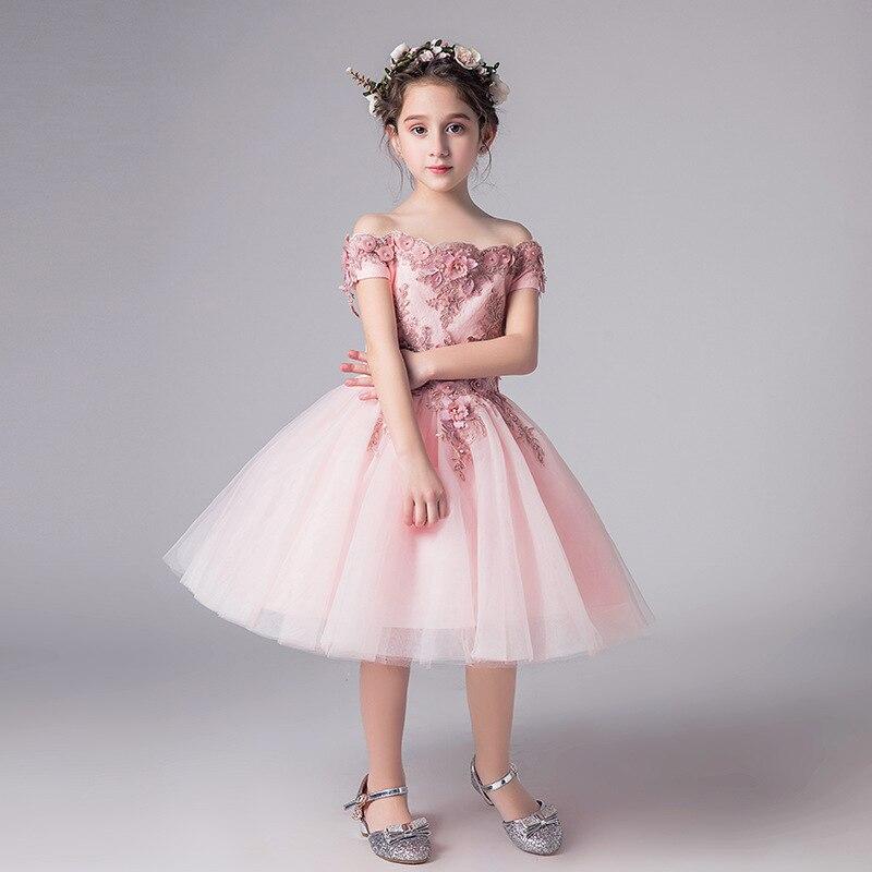 Романтичное свадебное платье подружки невесты с цветочным узором для девочек; Новинка года; длинное кружевное платье с украшением из бисера; праздничное платье с цветочным узором для девочек - Цвет: pink