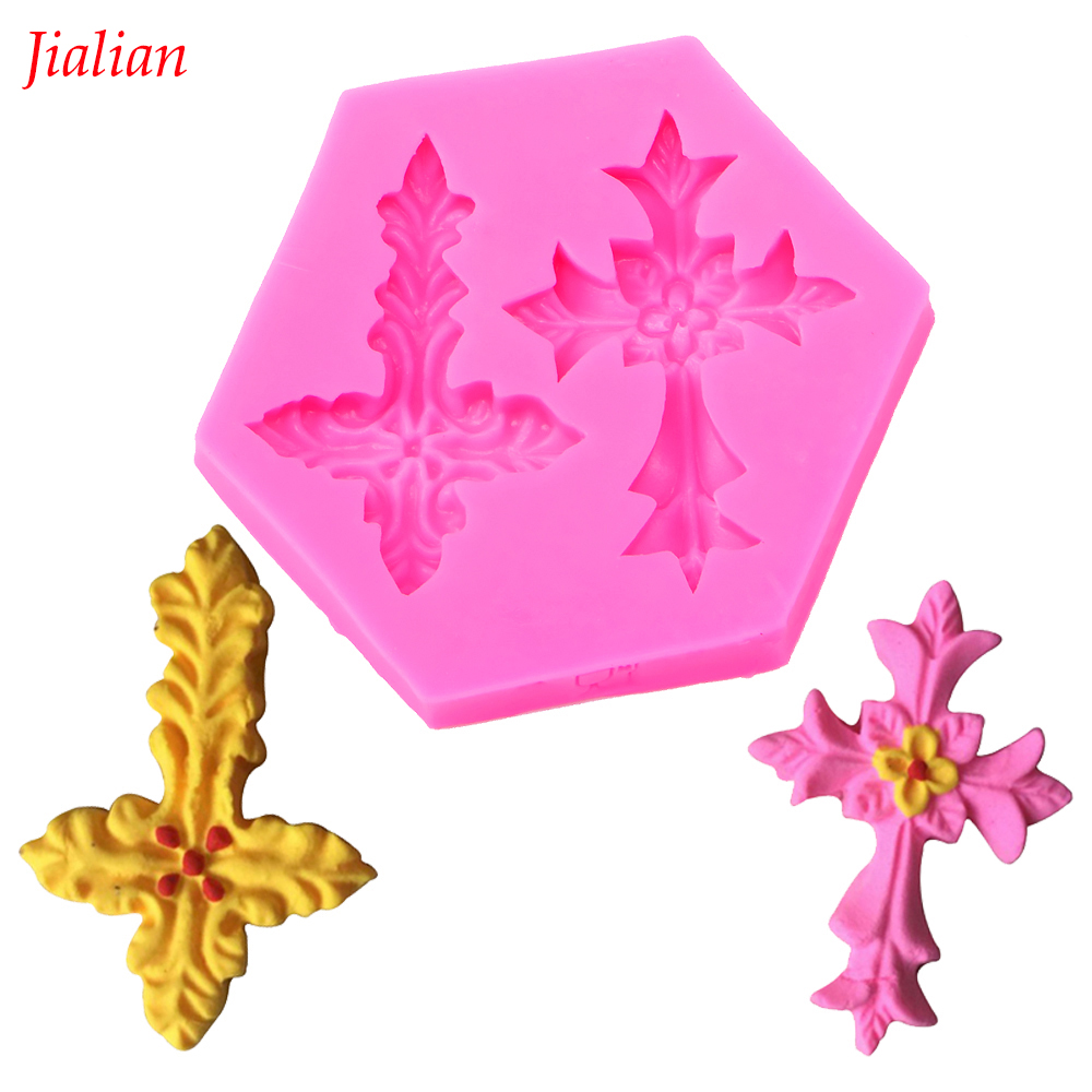 Cross Religious Holy Communion Shaped DIY fondant cake silicone moulds chocolate cupcake decoration kitchen Baking tools FT-0053