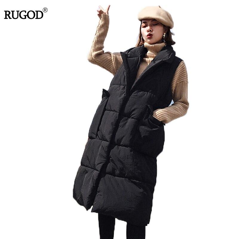 RUGOD Winter Jacket Vest Women 2017 New Fashion Waistcoat Plus Size Slim Candy Color Vests Polyester Paddled Warm Long Vest