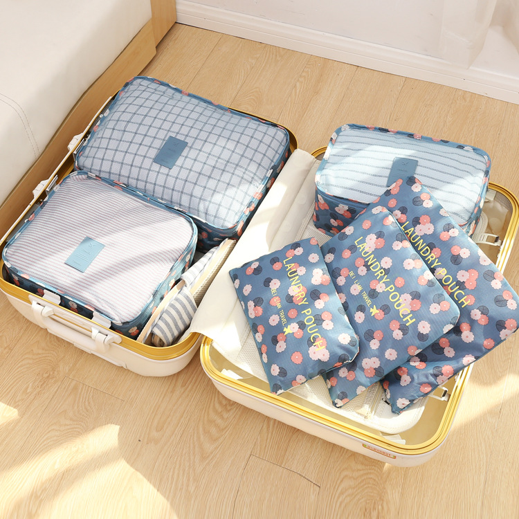 6PCS/Set High Quality Oxford Cloth Travel Mesh Bag In Bag Luggage Organizer Packing Cube Organiser For Clothing FADISH