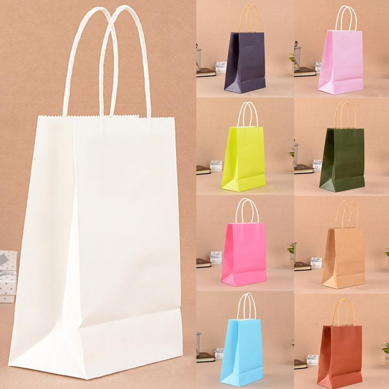 5 Pcs Or 10 Pcs Environment Friendly Kraft Paper Bag Gift Bag With Handles Recyclable Shop Store Packaging Bag 10 Colors