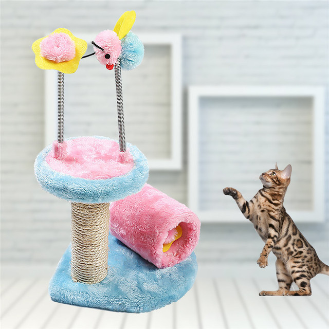 Pet Toys Cat Climbing Frame and Scratch Board Cat Holding Pillar ...