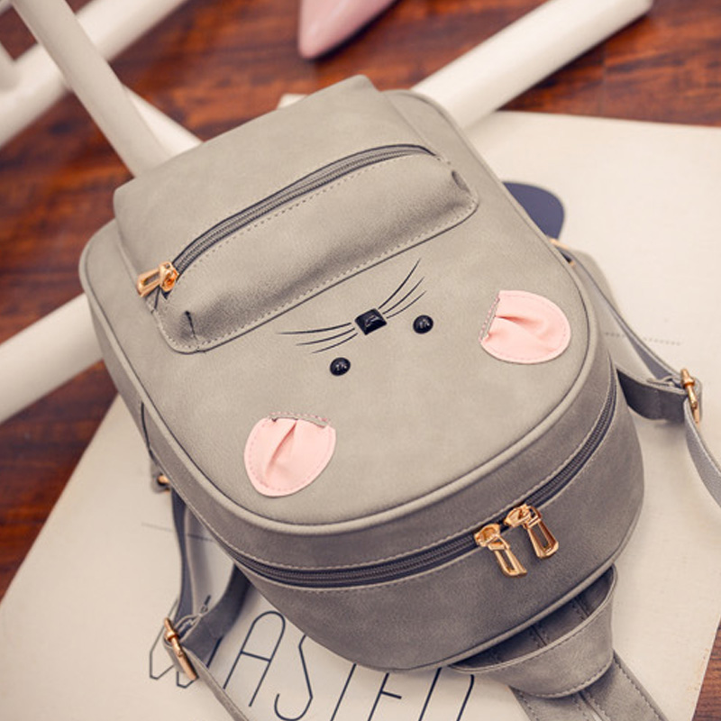 New Designer Women s Backpack PU Leather Animal Bagpack Mouse Face Cute  Knapsack for Teenager Girls Small Schoolbags for Youth-in Backpacks from  Luggage ... 6111075d5f297