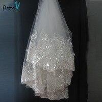 Dressv לבן ושנהב תחרת applique edge חתונת כלה רעלה 3 שכבה קצה אצבע חתונת כלה אביזרי חתונת רעלות