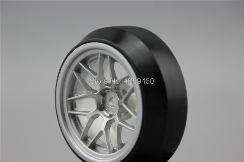 Collection Here 4pcs Rc Hard Drift Tires Tyre Nylon Material Wheel Rim I7ys 3mm Offset Fits For 1:10 Drift Car Attractive Appearance painting Silver