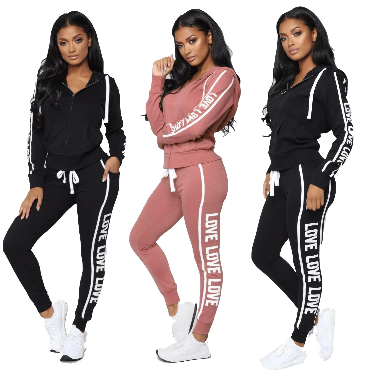 Zogaa Women Fitness Sporting Two Pieces Set Letter Print Hoodies Top Leggings Striped Patchwork 2019 Fashion 2 Pcs Tracksuits