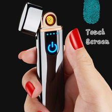 New Thin Usb Charging Lighter Touch Screen Electronic Cigarette Lighters Small Rechargeable Electric Lighter Windproof Men Gifts
