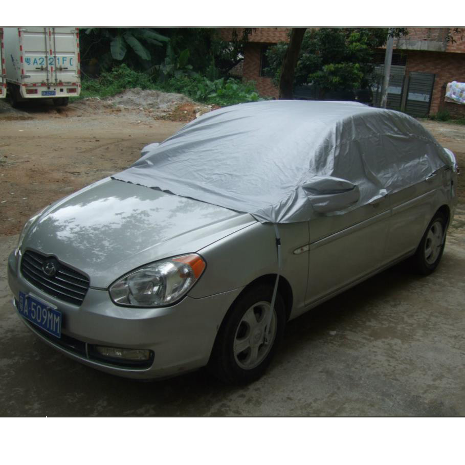 Car Cover Prevent Heat Cold Sun Rain Snow Half Auto Cover For Saloon Hatchback Pickup PVC Coating Cover L XL Optional все цены