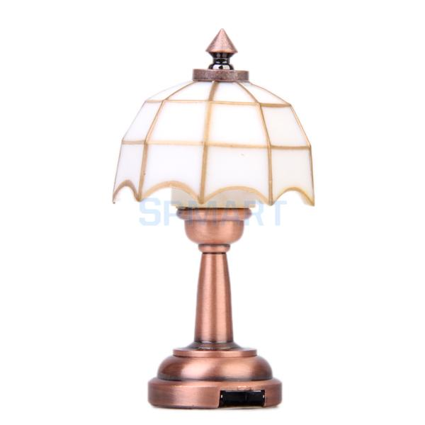 SPMART Bronze Metal 1:12 Dollhouse Miniature LED Desk Lamp Model with Umbrella Shape Lampshade