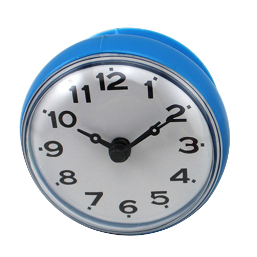 UESH-7cm Waterproof Kitchen Bathroom Shower Water Clock Suction Cup Sucker Wall Clock Blue