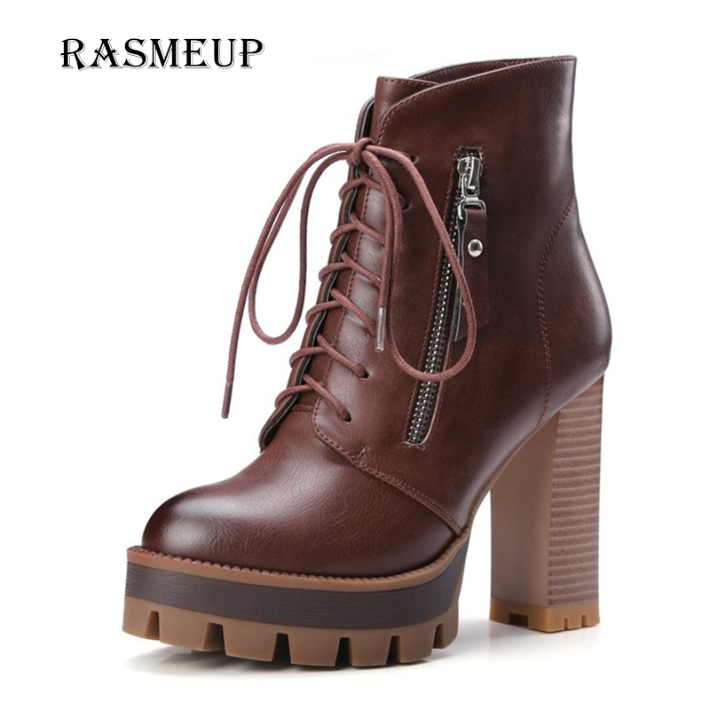 RASMEUP Fashion Thick High Heel Women's Ankle Boots New Winter Women Lace Up Zipper Platform Motorcycle Boot Leather woman Shoes cicime summer fashion solid rivets lace up knee high boot high heel women boots black casual woman boot high heel women boots