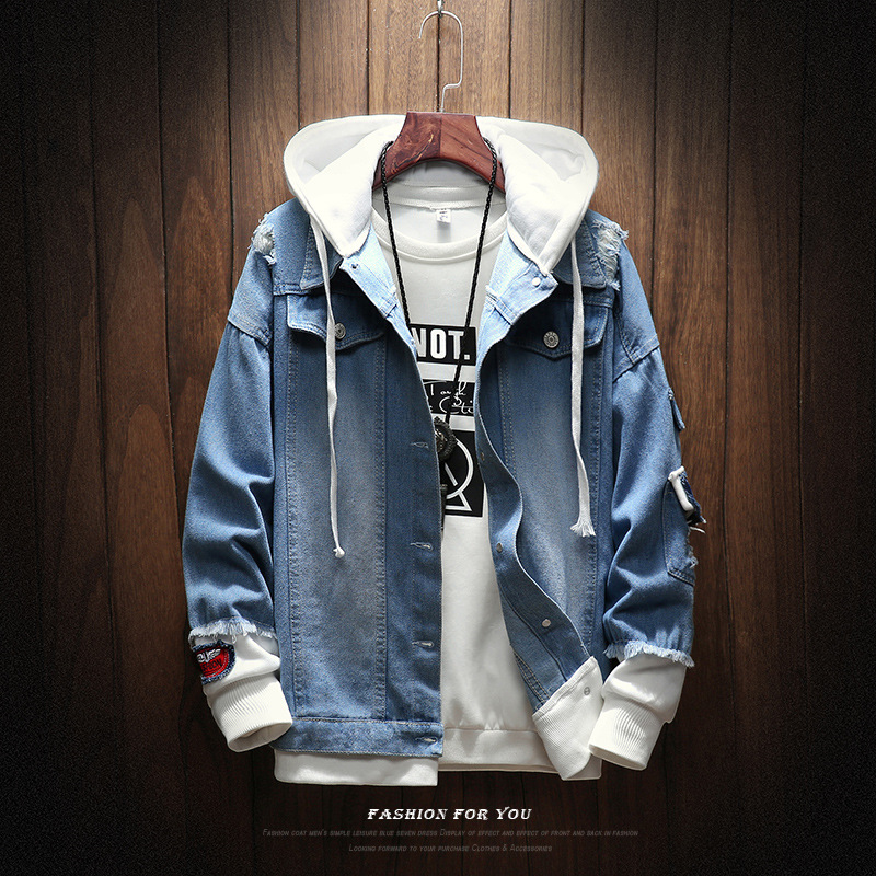 2020 New Hooded Denim Jacket Men Fashion Fake Two Pieces Patchwork Denim Coat Streetwear Casual Hole Jacket Mens Denim Clotheing