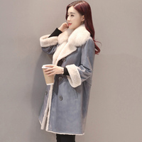 New 2017 Luxury Fashion Women Winter leather Coat Fur Coat Warm Winter Fur leather Jacket Women Long Winter Coat Overcoat QH1065