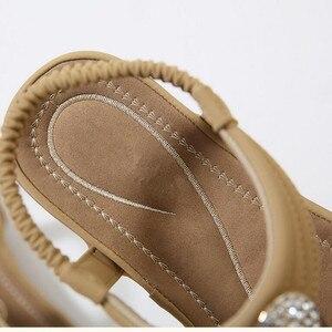 Image 5 - Timetang 夏新ボヘミア女性サンダルラインストーン女性フリップヴィンテージ女性靴ビーチ