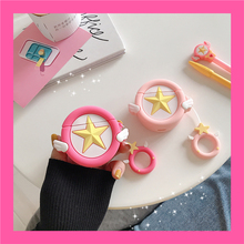For AirPods 2 Case Cute Cartoon Pink Star Angel Wing Earphone Apple Airpods Protect Cover Funda & Finger Ring Strap