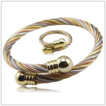 New Arrive Classic 100% 316L Stainless Steel Gold Cable Wire Chain Womens Mens Jewelry Set Bracelet Bangle&Ring