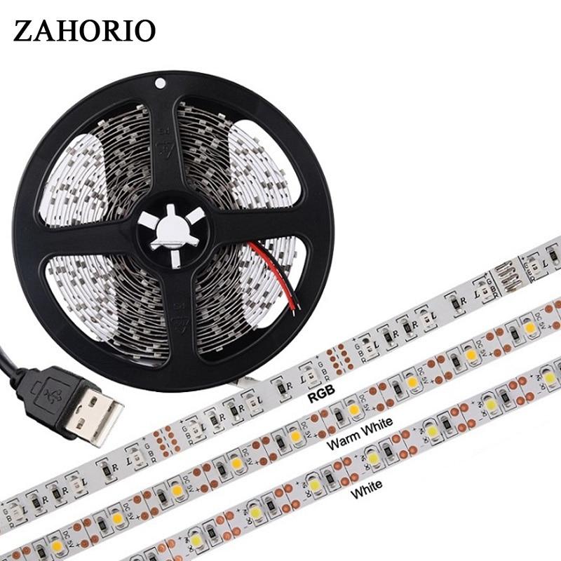 ZAHORIO DC 5V RGB USB LED strip light LED lamp 2835 SMD USB charger port strip tape + RF IR RGB remote control 0.5m 1m 2m
