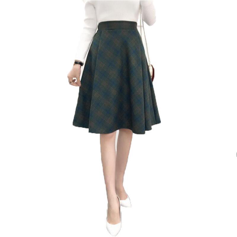 plaid skirt a line skirt style woolen