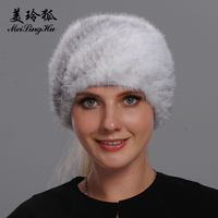 Winter Knitted Real Fur Hats Women Scarves for Women New Warm Mink Fur Solid Soft Hat Beanies Female Genuine Mink Fur Headband