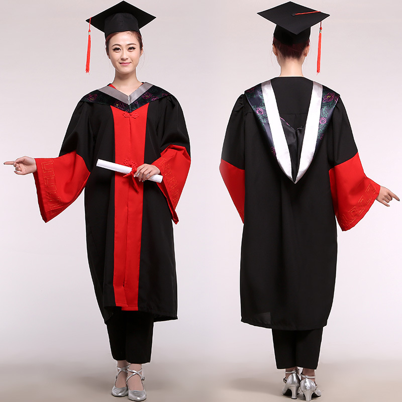 University Degree Gown Female Doctor's Dress Graduation Student Clothes For Girl Unisex Doctoral Academic Dress Gown With Hat 89