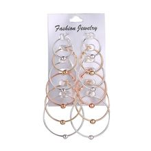 6 Pairs Gold Sliver Big Round Circle Hoop Earrings Set For Women Multiple Loop Earring Fashion Jewelry