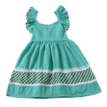 Baby Girls Summer Bare Back Lace Plaid Dresses Casual Flying Sleeve Bandages Green Color  School Dress Tutu Party Wear Clothing