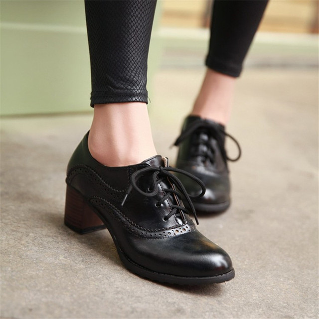 492844d0809d PXELENA Retro British Wing Tip Chunky Block High Heels Oxfords Women Shoes  Round Toe Lace Up