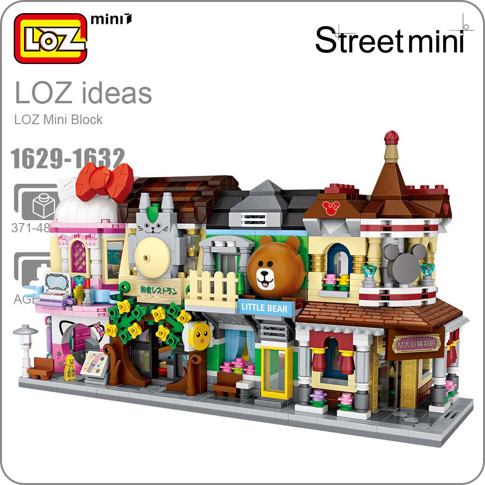 LOZ Mini Block Mini Street City 3d Building Blocks House Cartoon Shop Model DIY Assembly Toys for Children Educational 1629-1632
