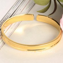 Гладкий Простой стильный браслет с желтым золотым наполнителем