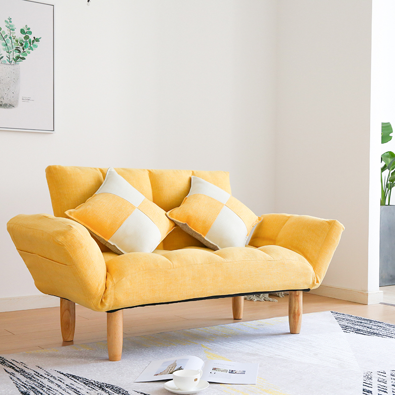 Modern Linen Sleeper Futon Sofa Love Seat Couches For Home Living Room Furniture Japanese Lazy Recliner Sofa Foldable Back&Arm image