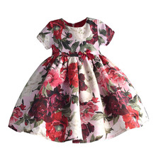 Fashion Floral Girls Party Dress Red Cotton Kids Children Dresses with Sleeve Golden Crown Bow Girl Clothing for Party Wedding