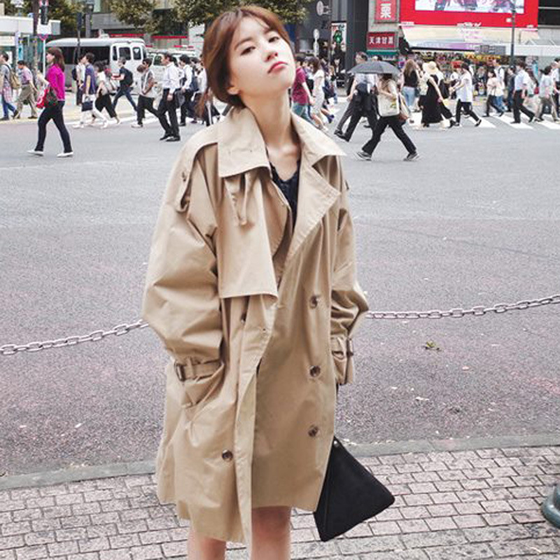 U-SWEAR 2018 Autumn New Women's Casual Trench Coat Oversize Double Breasted Vintage Washed Outwear Loose Clothing High Quality