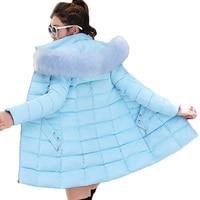 Women Winter Jackets Coats 2019 New Parkas Women Down Cotton Jackets Warm Outwear Faux Fur Collar Hooded Female Long Jacket 420
