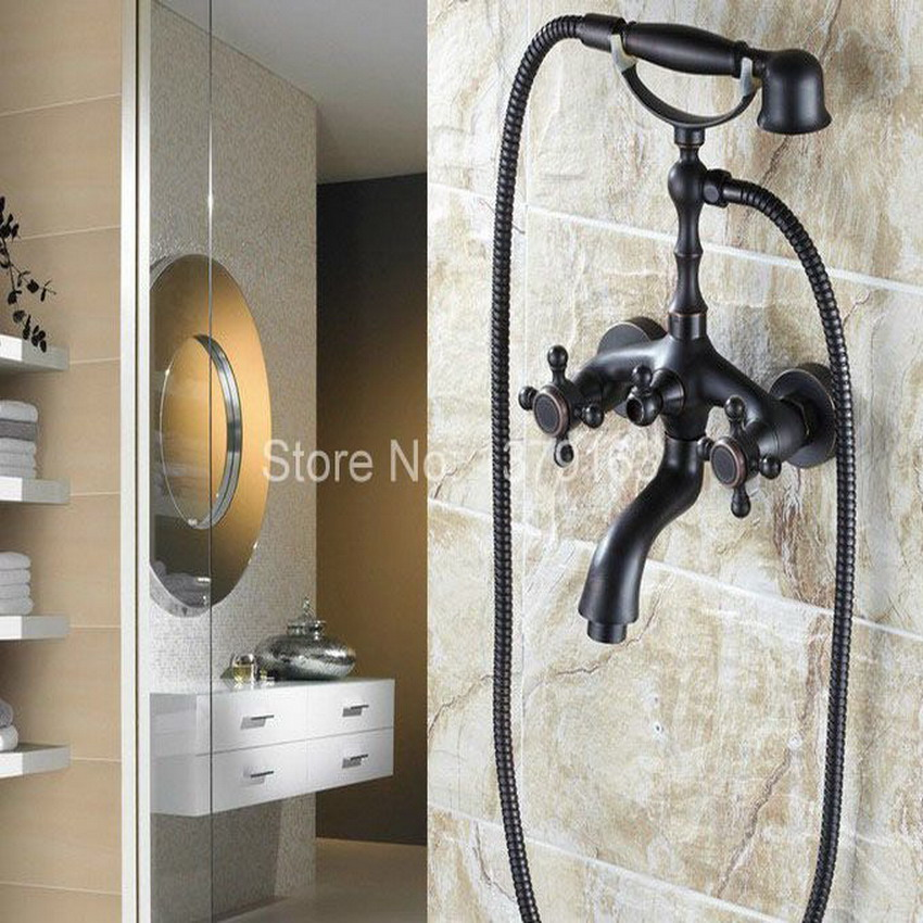 Bathroom Black Oil Rubbed Bronze Wall Mounted Clawfoot Tub Filler Faucet Handshower Double Cross Handles atf701