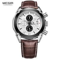 Megir Fashion Leather Sports Quartz Watch For Man Luminous Military Wrist Watches Men Chronograph Army Style