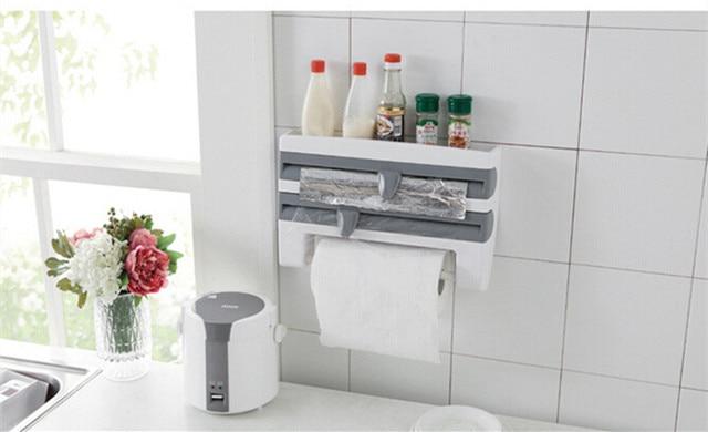 US $23.39 28% OFF|Küche Frischhaltefolie Lagerregal Mit Hobel Cutter  Aluminiumfolie Toilettenpapierhalter Wandregal Küche Zubehör in Küche ...