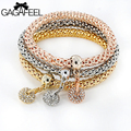 Women Zircon Round Bracelets Fashion Jewelry Gold Filled Elastic Bracelet Bangles Pulseira Chains Watch Friendship Gift 3pcs/set
