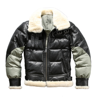 Ab3 Read Description! Asian size super warm mens genuine goat leather down jacket very warm sheep skin winter leather jacket