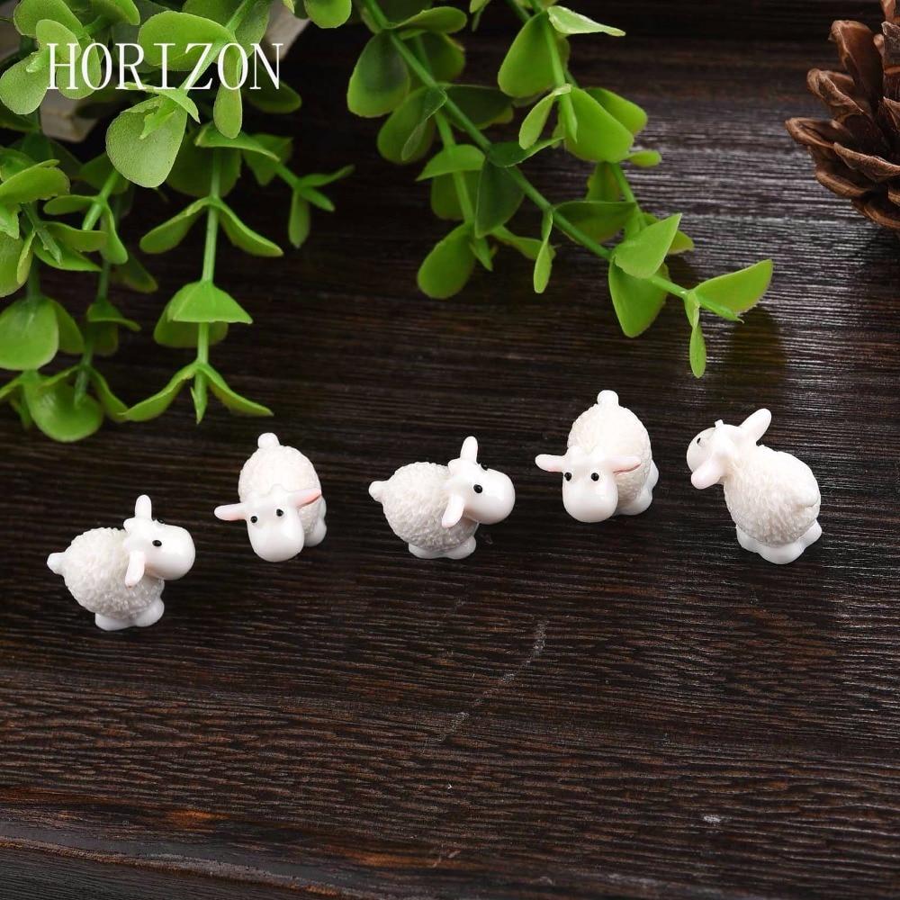 Buy 5pcs set kawaii mini sheep animals for Home garden accessories