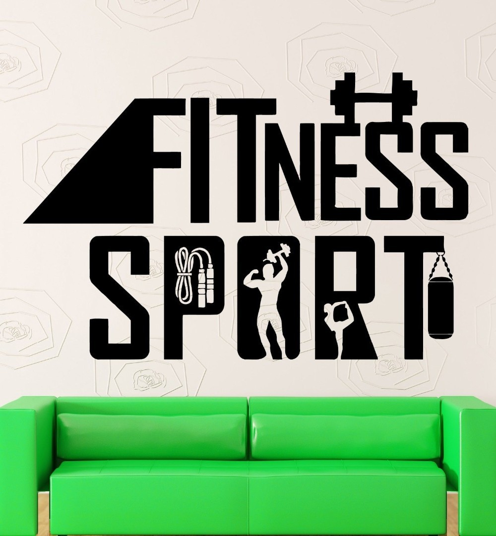 2016 Hot Sale Fitness Wall Stickers Quotes Diy Vinyl Removable Gym Decor  Waterproof Sports Sticker For