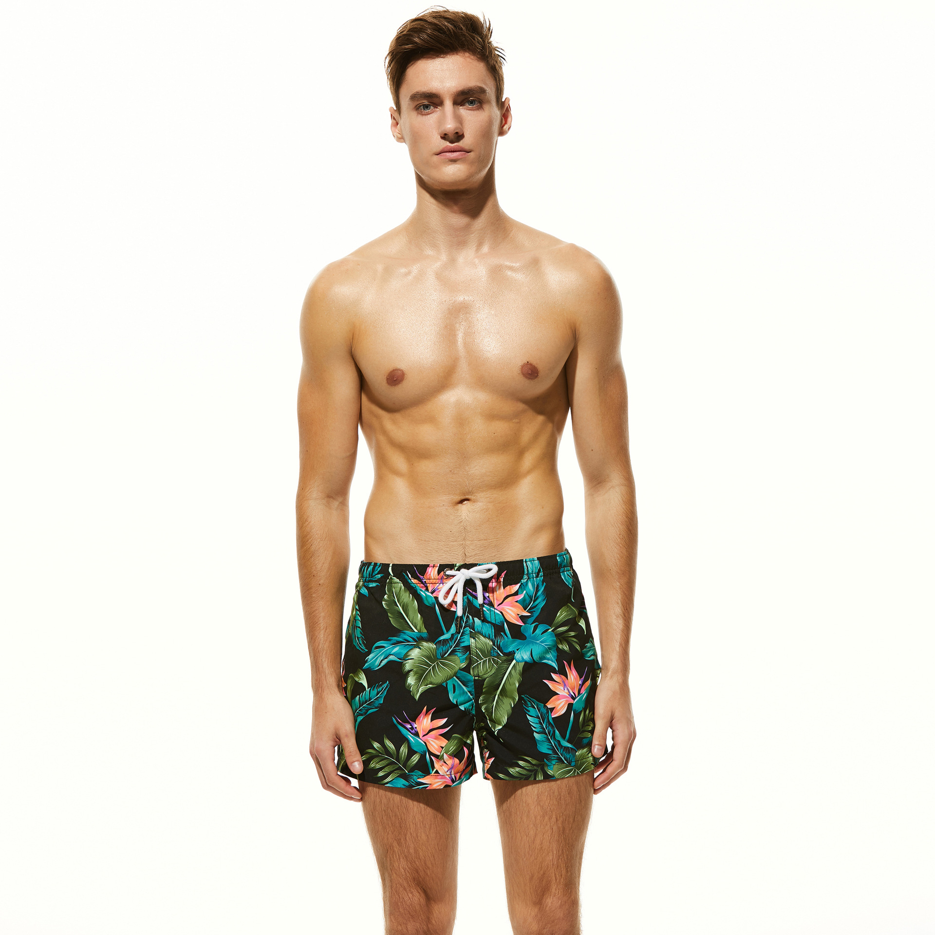New design men's beach   shorts   gay swimsuit swimwear polyester surfing   shorts   flowers printed swim trunks loose   board     shorts