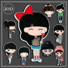 JOD  Large Sewing Embroidered Clothes Patches of Lovely Girl By Sew on Patch for Clothing Stick Badge Girl,bag,kids