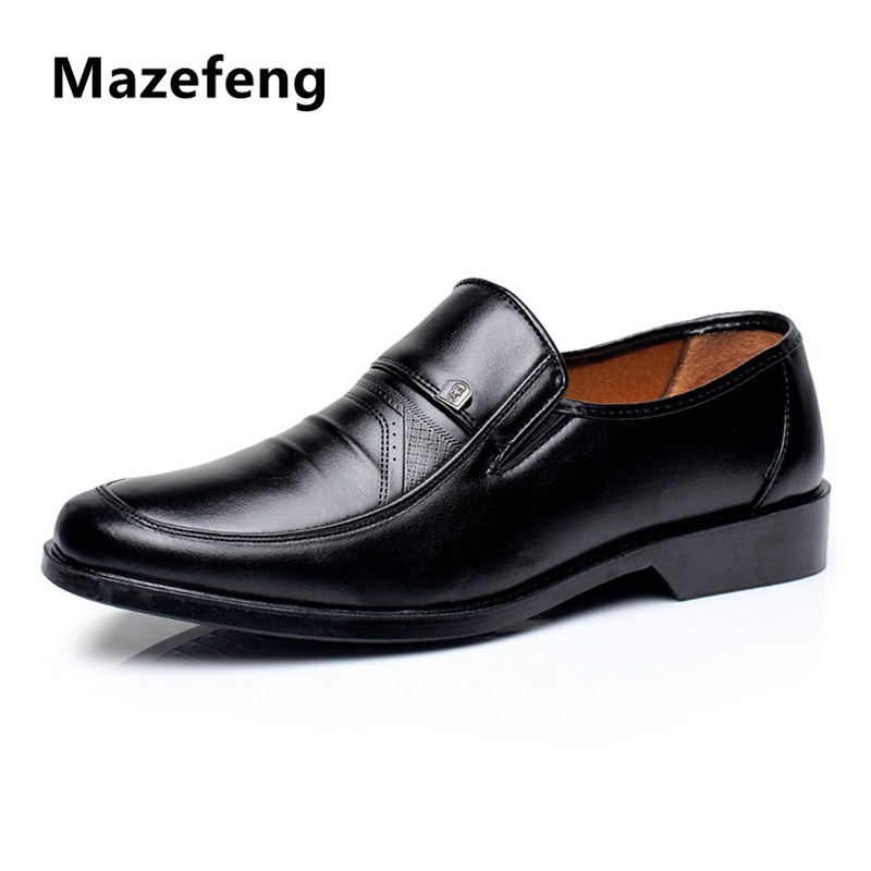 Mazefeng New Fashion 2018 Spring Autumn Men Dress Shoes Business Male Leather Shoes Solid Color Men Work Shoes Slip-on Round Toe osco men shoes spring autumn genuine leather business casual shoes round toe slip on comfortable low shoes office work shoes