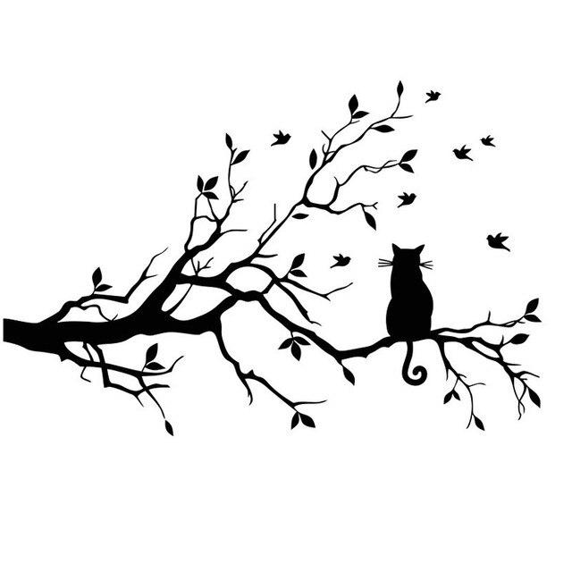 Schwarz Baum Katze Wandaufkleber Katze Vogel Ast Blatt Wohnkultur  Wandtattoos PVC Kunst DIY Tapete Für Kinderzimmer