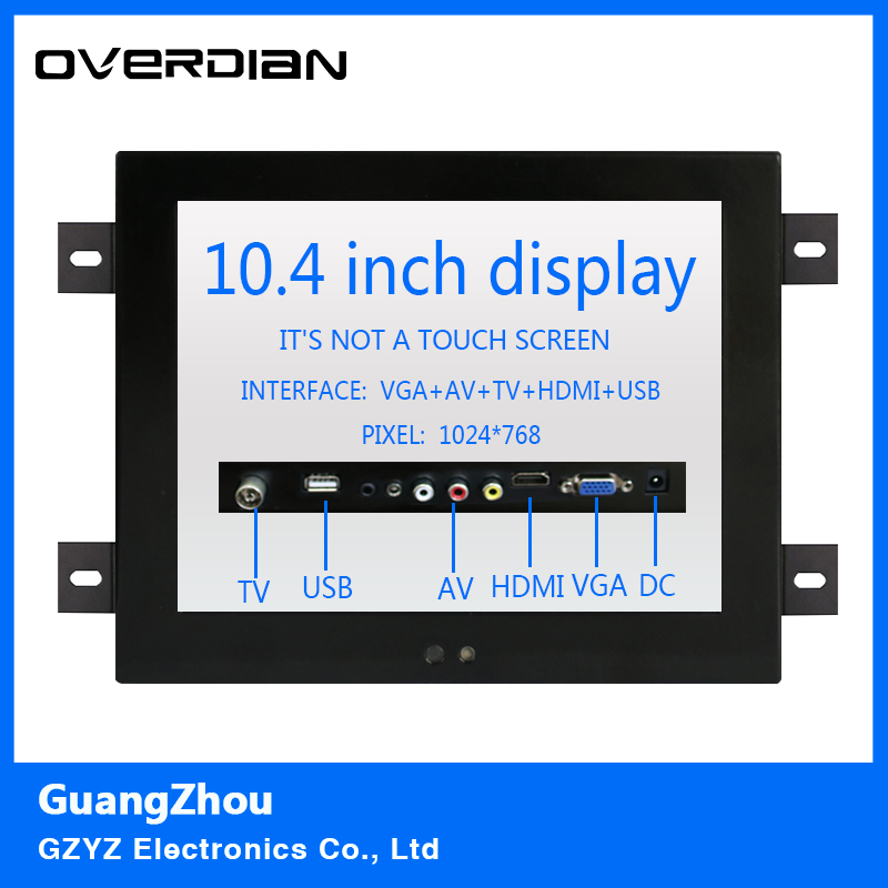 10.4 VGA/HDMI/TV/AV/USB Interface Non-Touch Industrial LCD Monitor/Display 1024*768 Metal Shell Hanger Card Installation 4:3 8 8 4 inch vga dvi interface non touch industrial control lcd monitor display metal shell buckle card installation 4 3