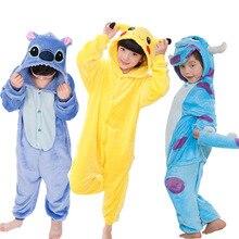 Купить с кэшбэком Children Pajamas Set Animal Pikachu Stitch Panda Unicorn Pyjamas Kids Pajamas For Boys Girls Sleepwear Cosplay Costume Onesies