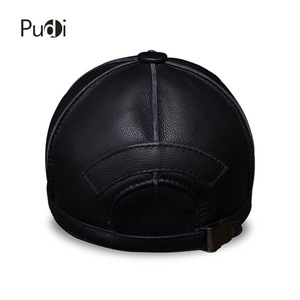 Image 5 - HL028 genuine leather men baseball cap hat new brand mens real leather adult solid adjustable hats/caps