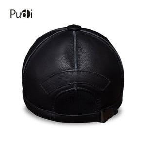 Image 5 - Hl028本革男性野球キャップ帽子新ブランドメンズリアルレザー大人固体調節可能な帽子/キャップ