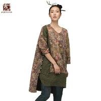 Jiqiuguer Для женщин Винтаж с цветочным принтом в стиле пэчворк Рубашки v образным вырезом свободные длинные Повседневное футболки Большие разм
